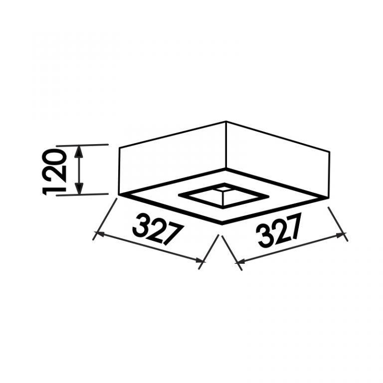Plafon Sobrepor Newline 170 Chess Quadrado C/ Difusor 4L E27 327x327x120mm