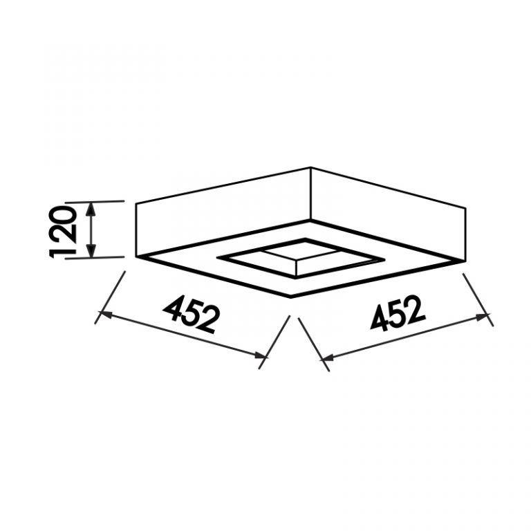 Plafon Newline 171 Chess Sobrepor 4L E27 452x452x120mm