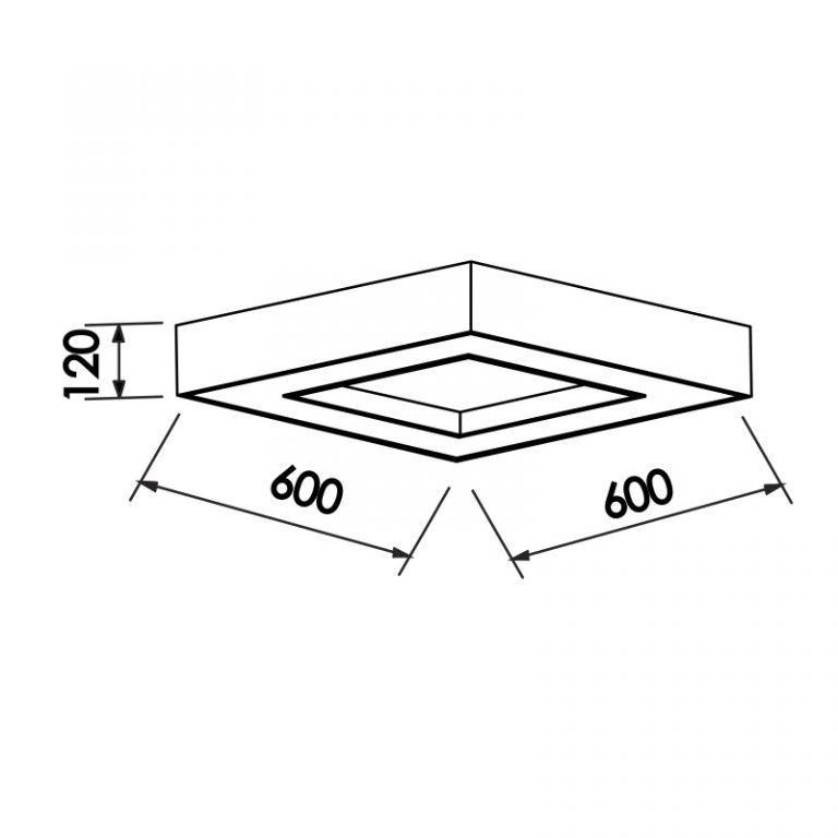 Plafon Sobrepor Newline 172 Chess Quadrado C/ Difusor 8L E27 600x600x120mm