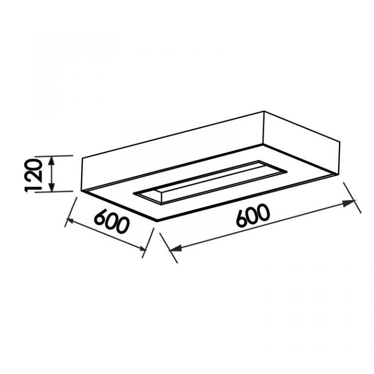 Plafon Sobrepor Newline 175 Chess Retangular C/ Difusor 8L E27 720x350x120mm