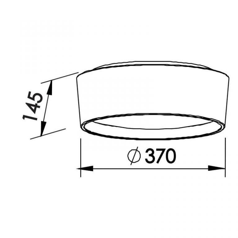 Plafon Newline SN10151 Circle Sobrepor C/ Difusor 4L E27 Ø370x145mm