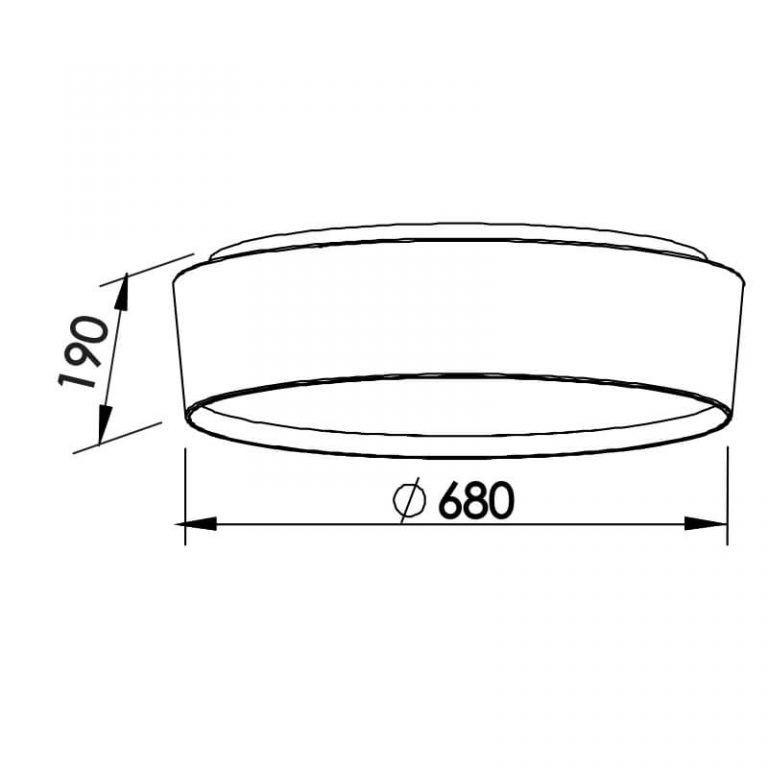Plafon Newline SN10153 Circle Sobrepor C/ Difusor 8L E27 Ø680x190mm