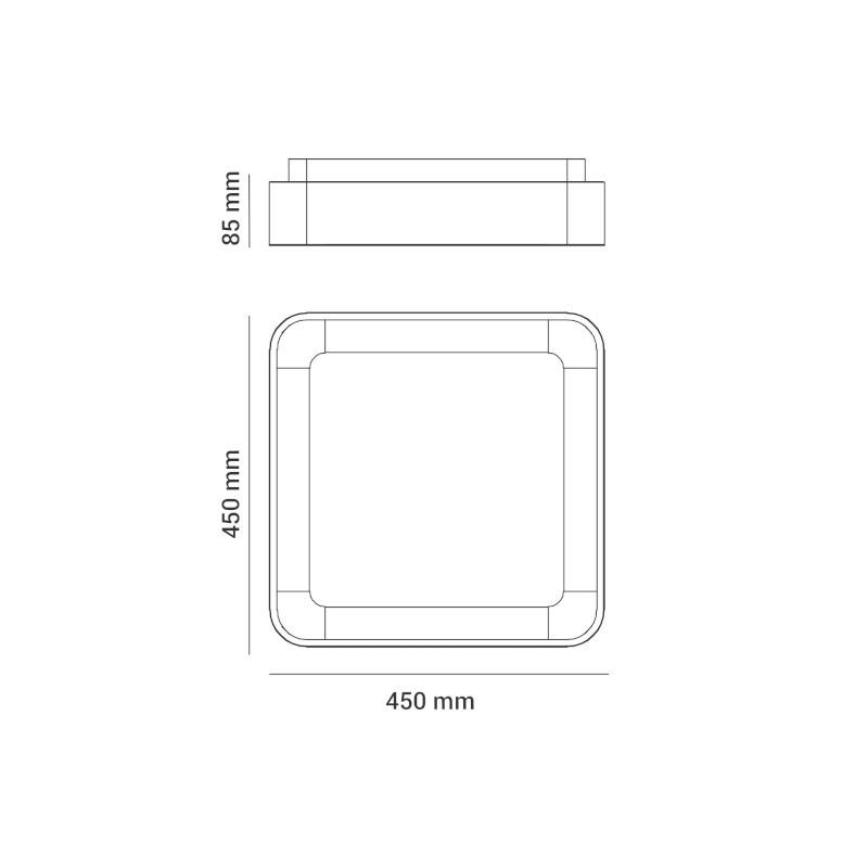 Plafon Opus DN38063 Square 28W 3000K Bivolt IP20 450x450x85mm