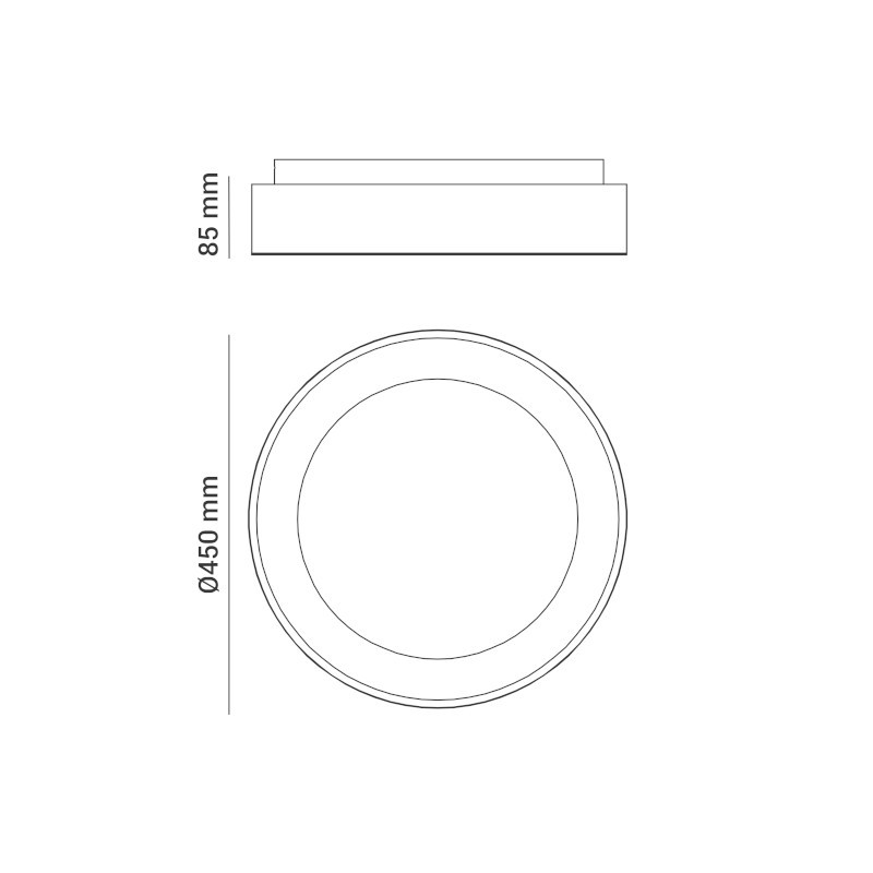 Plafon Opus DN38070 Round 26W 3000K Bivolt IP20 Ø450x85mm