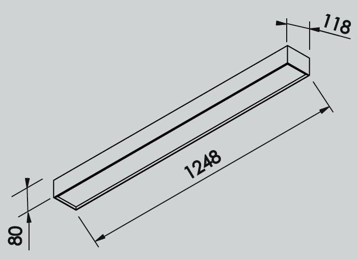 Plafon Perfil Newline IN40326 Sobrepor III Completa C/ Difusor 2L 120cm G13 T8 1248x118x80mm