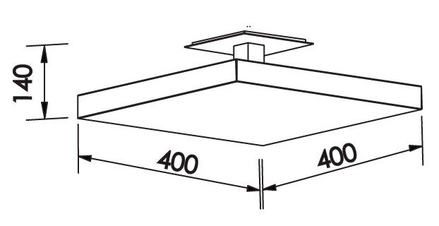 Plafon Sobrepor LED Newline 530LED3 Tray LED 25,2W 3000K Bivolt 400x400x140mm