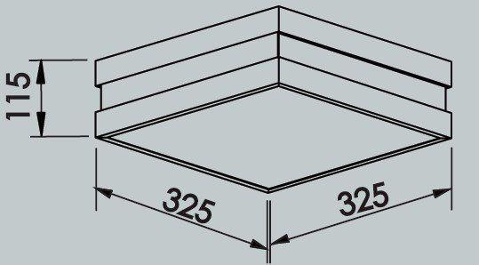 Plafon Sobrepor Newline 11790 New Quadrus Quadrado C/ Difusor 4L E27 325x325x115mm