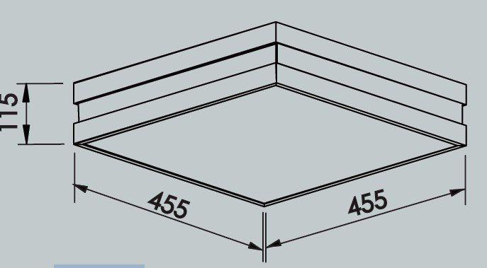 Plafon Sobrepor Newline 11791 New Quadrus Quadrado C/ Difusor 6L E27 455x455x115mm