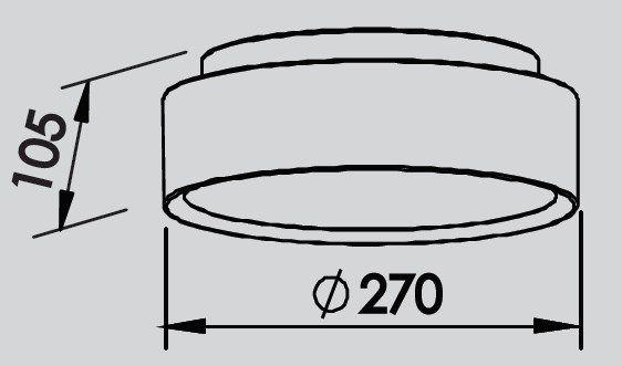 Plafon Sobrepor Newline 9045 Ring C/ Difusor 2L E27 Ø270x105mm