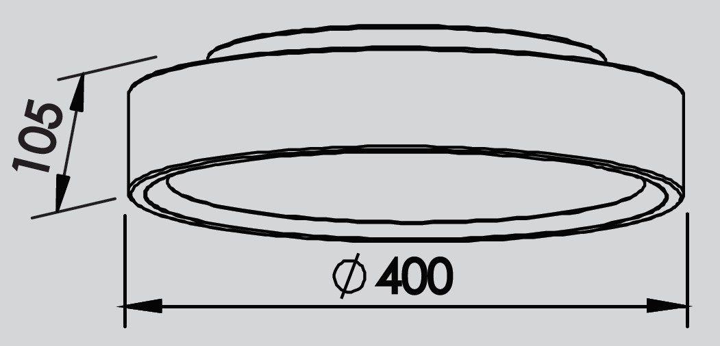 Plafon Sobrepor Newline 9046 Ring C/ Difusor 3L E27 Ø400x105mm