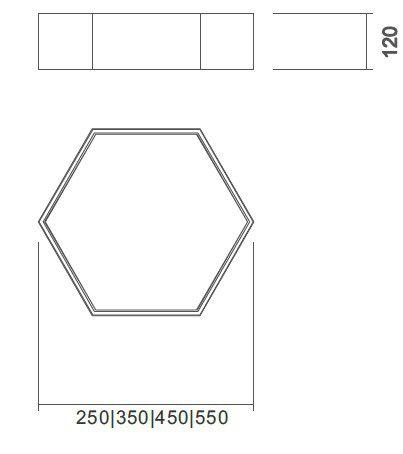 Plafon Usina 16420/25 Hexa 2L E27 Ø250x120mm