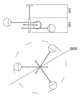 Plafon Usina 16444/3 Satélite C/ Globo Ø120mm 3 G9 Ø660x510x505mm