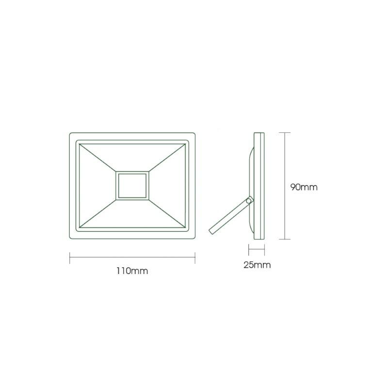 Refletor LED Ecoforce 18368 Compacto 10W Verde Bivolt IP65 90x110x25mm