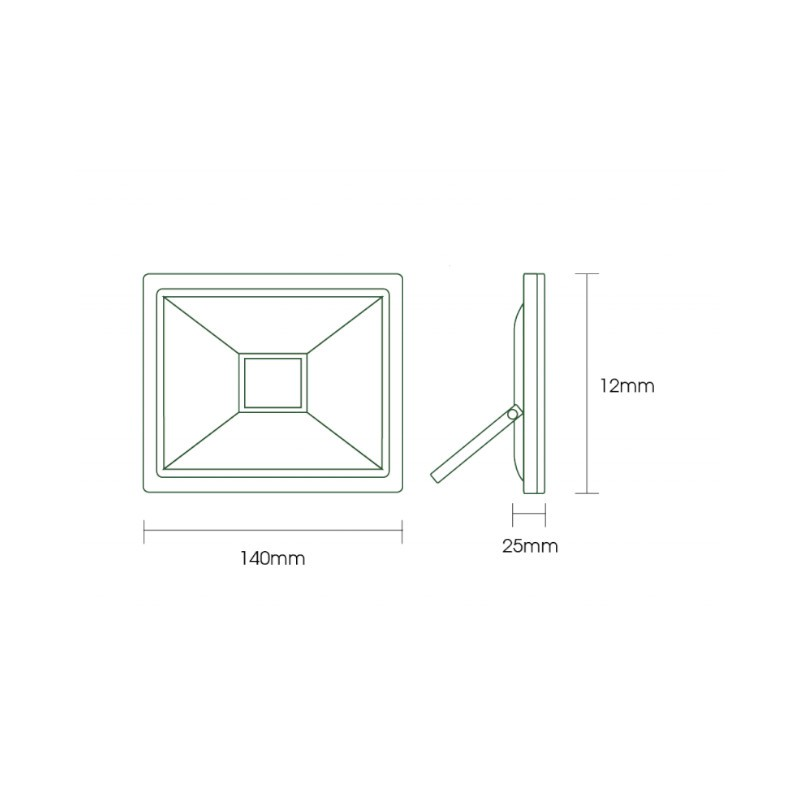 Refletor LED Ecoforce 18371 Compacto 20W 6500K Bivolt IP65 120x140x25mm