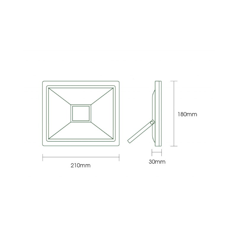 Refletor LED Ecoforce 18375 Compacto 50W 6500K Bivolt IP65 180x210x30mm