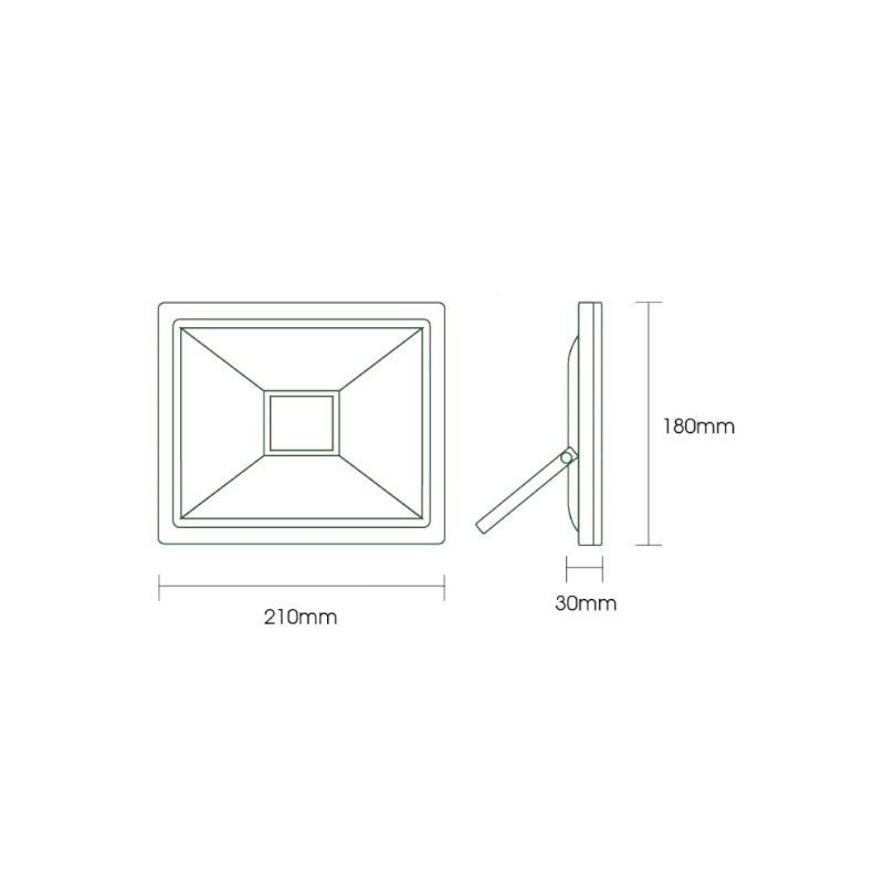 Refletor LED Ecoforce 18376 Compacto 50W 3000K Bivolt IP65 180x210x30mm