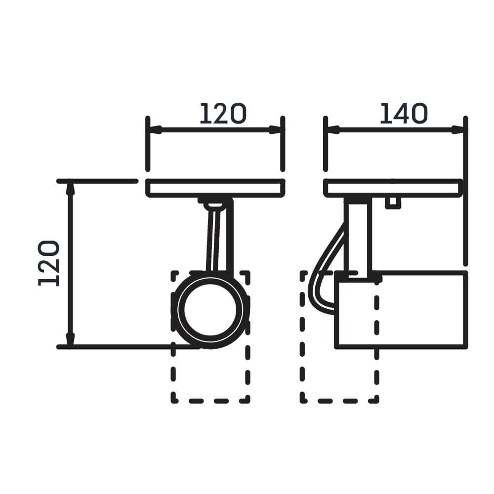 Spot Canopla Newline IN55625 Lisse II 1L Dicróica/PAR16 120x140x120mm