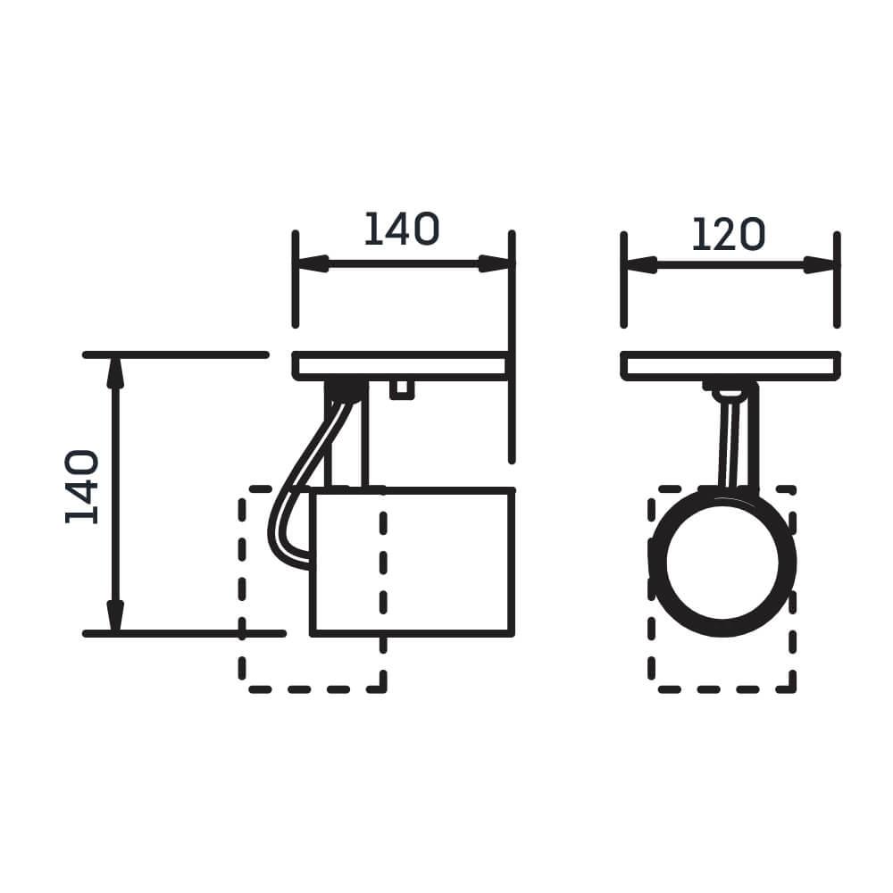 Spot Canopla Newline IN55645 Lisse II 1 AR70 GU10 140x150x140mm