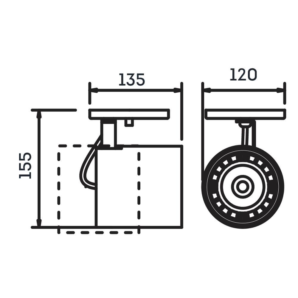 Spot Canopla Newline IN55655 Lisse II Foco Ajustável 1L GU10 AR111 120x135x155mm - Com Canopla