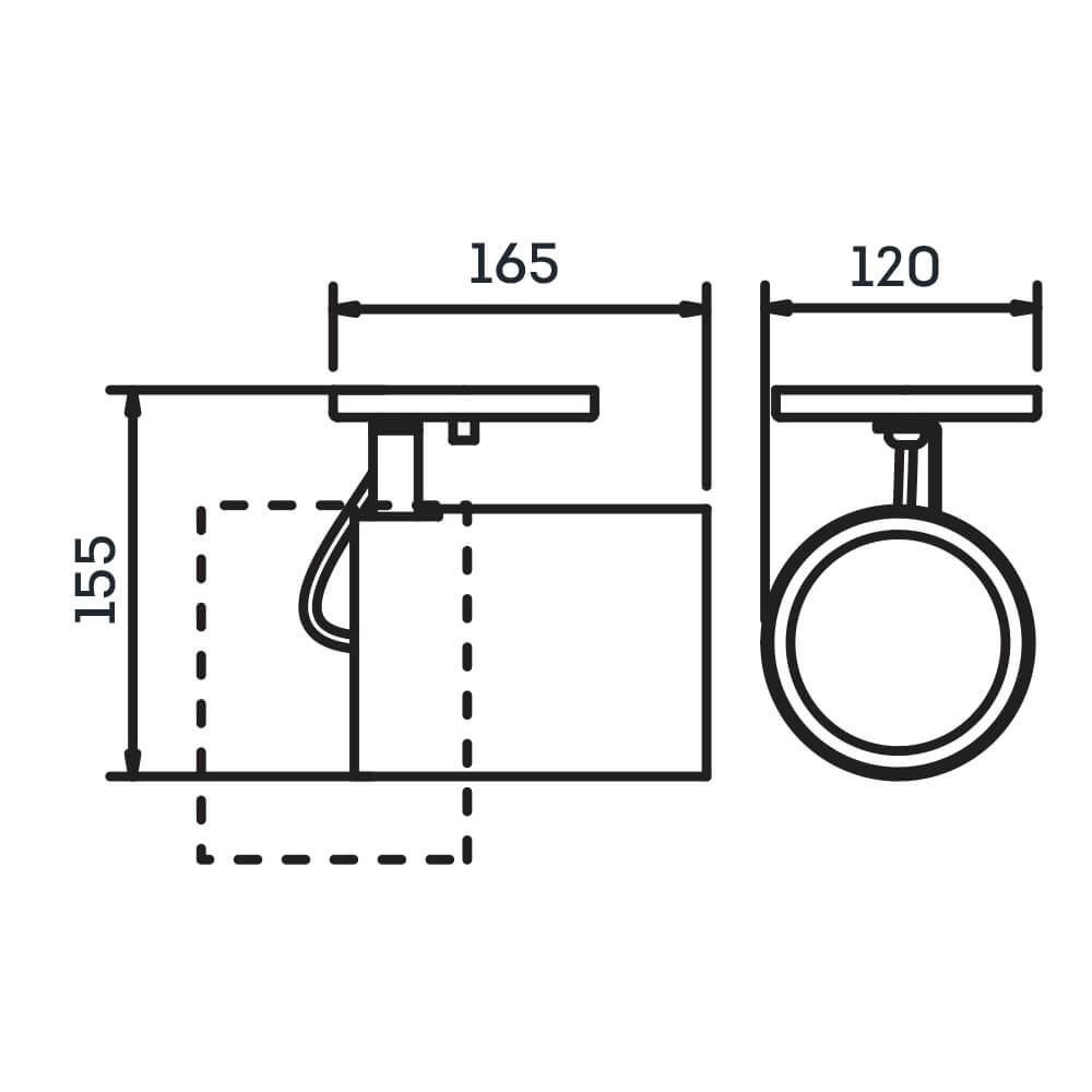 Spot Canopla Newline IN55665 Lisse II Foco Ajustável 1L E27 PAR30 120x165x155mm - Com Canopla