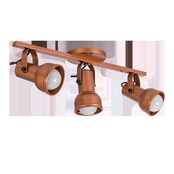 Spot Canopla Sobrepor Incolustre 703.53 Inval 3L PAR20 E27 Ø85x130mm Cobre