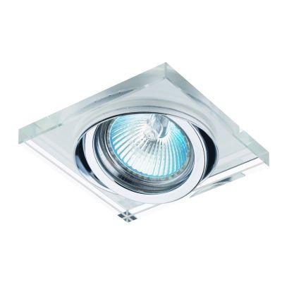 Spot Bella YD134 Embutir Shine 1L Dicróica GU10 Bivolt 9x9x2,5cm Cromado/Transparente