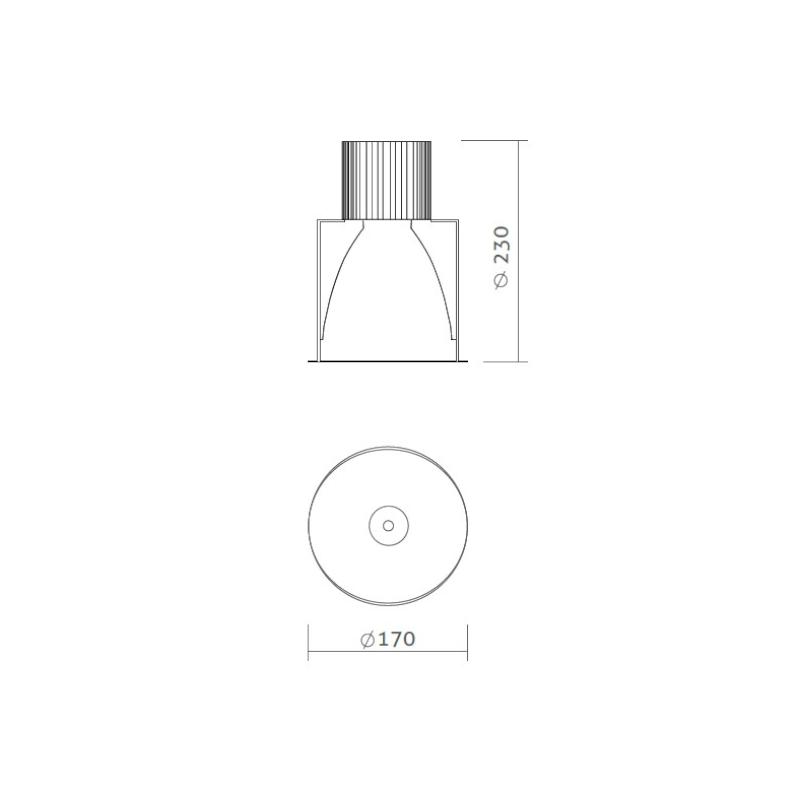 Spot Embutido LED Power Lume DLA-EMB50W Downlight 50W 24V IP40 Ø170x170x230mm