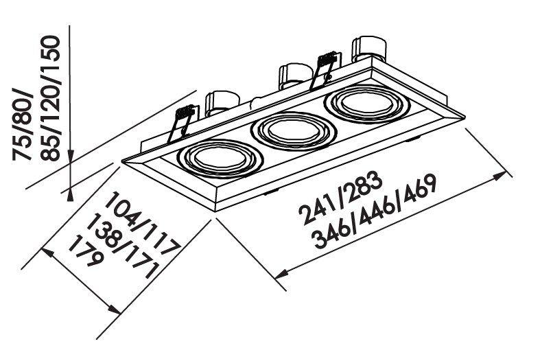 Spot Embutir Newline IN50323 Recuado II Retangular 3L Dicróica/PAR16 GU10 283x117x75mm