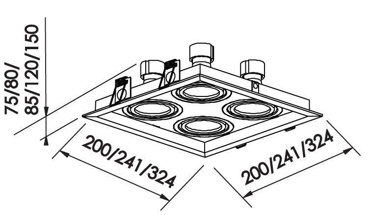 Spot Embutir Newline IN50334 Recuado II Quadrado 4L E27 PAR20 241x241x120mm