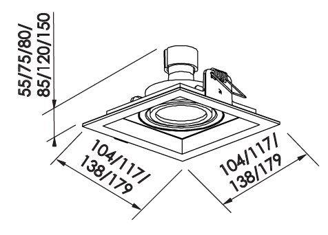 Spot Embutir Newline IN51341 Recuado II Quadrado 1L GU10 AR70 138x138x80mm