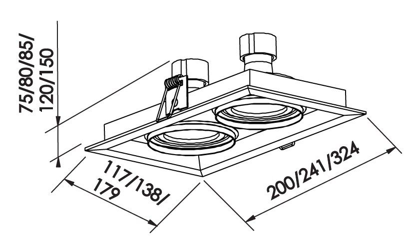 Spot Embutir Newline IN51342 Recuado II Retangular 2L GU10 AR70 241x138x80mm