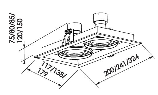 Spot Embutir Newline IN51362 Recuado II Retangular 2L E27 PAR30 324x179x150mm