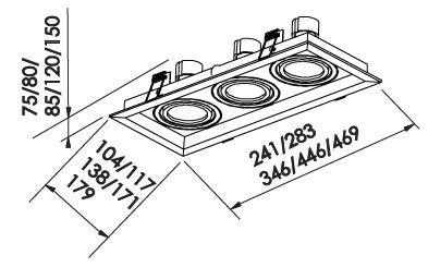 Spot Embutir Newline IN51363 Recuado II 3L E27 PAR30 469x179x150mm