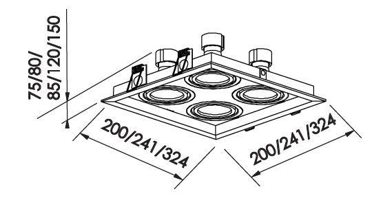 Spot Embutir Newline IN51364 Recuado II 4L E27 PAR30 324x324x150mm