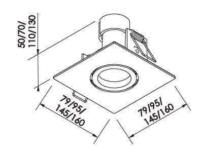 Spot Embutir Newline IN55561 Lisse II Quadrado 1L E27 PAR30 160x160x130mm