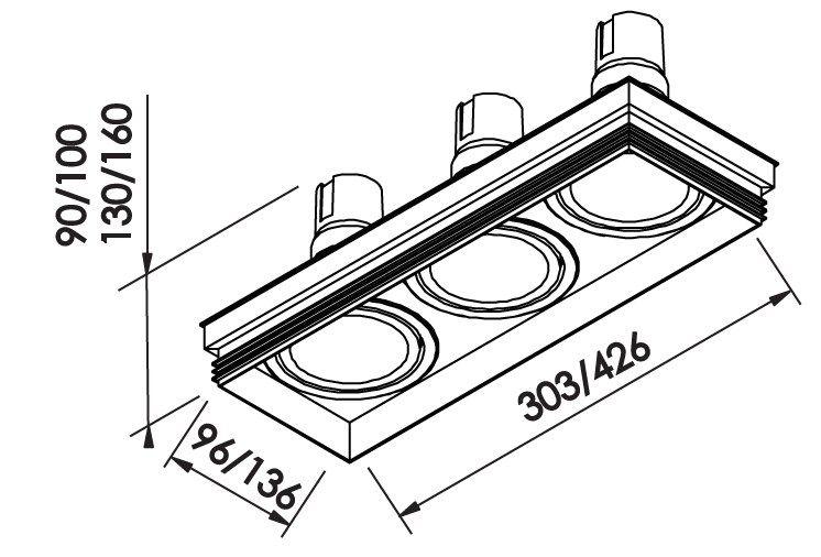 Spot Embutir Newline IN60323 No Frame II Retangular 3L GU10 Dicróica/PAR16 303x96x90mm