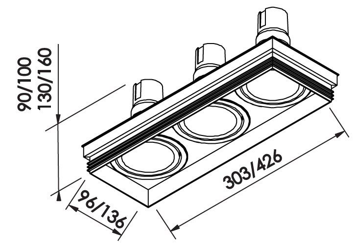 Spot Embutir Newline IN60363 No Frame II Retangular 3L E27 PAR30 426x136x160mm