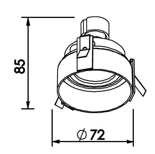 Spot Embutir Newline IN60521 No Frame II Redondo 1L GU10 Dicroica/PAR16 Ø72x85mm