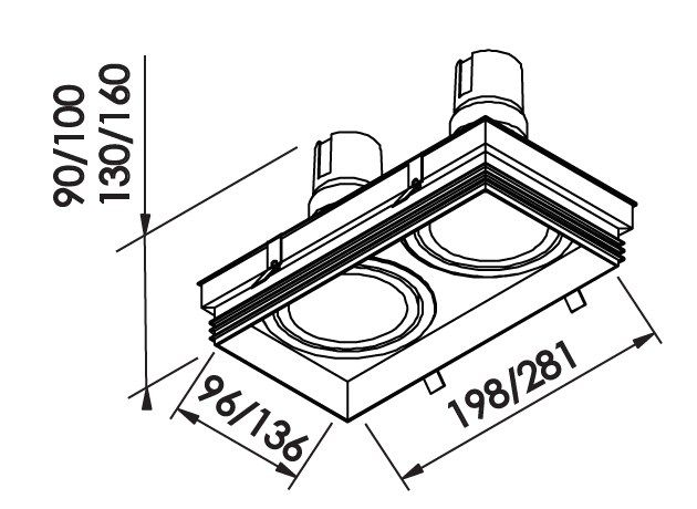 Spot Embutir Newline IN61342 No Frame II Retangular 2L AR70 GU10 198x96x100mm