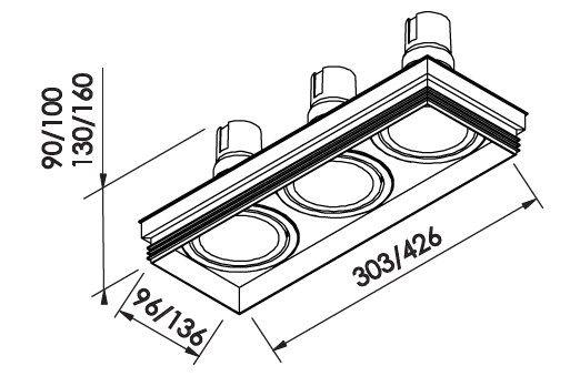 Spot Embutir Newline IN61343 No Frame II Retangular 3L GU10 AR70 303x96x100mm