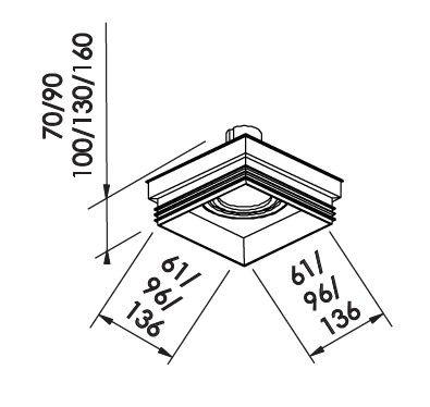 Spot Embutir Newline IN61351 No Frame II Quadrado 1L GU10 AR111 136x136x100mm