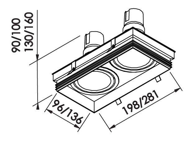 Spot Embutir Newline IN61352 No Frame II Retangular 2L GU10 AR111 136x281x100mm