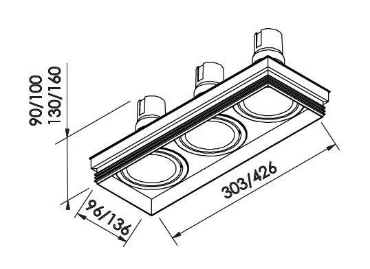 Spot Embutir Newline IN61353 No Frame II Retangular 3L GU10 AR111 426x136x100mm