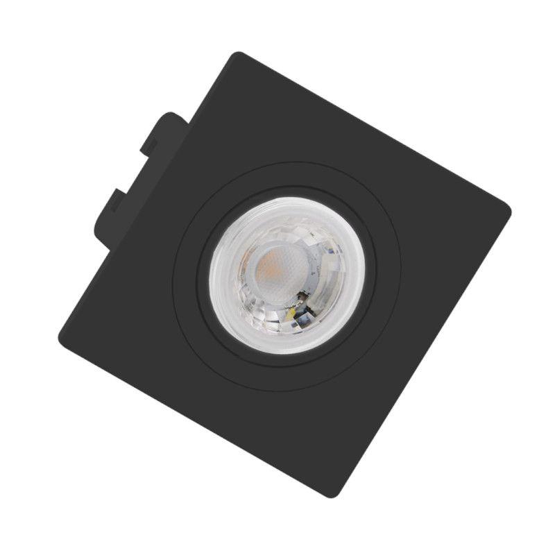 Spot Embutir Save Energy SE-330.1272 Quadrado Face Plana Mini Dicróica GU10 70x70x35mm Preto