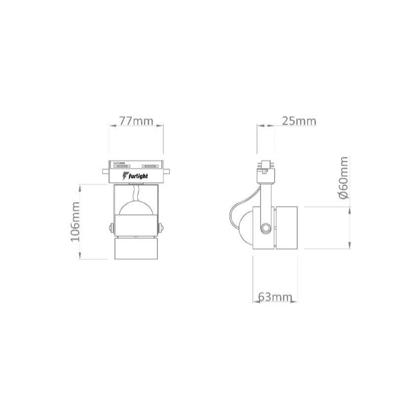 Spot Para Trilho Eletrificado Furlight FL3014 Dicróica PAR16 GU10 Ø60x140mm Preto