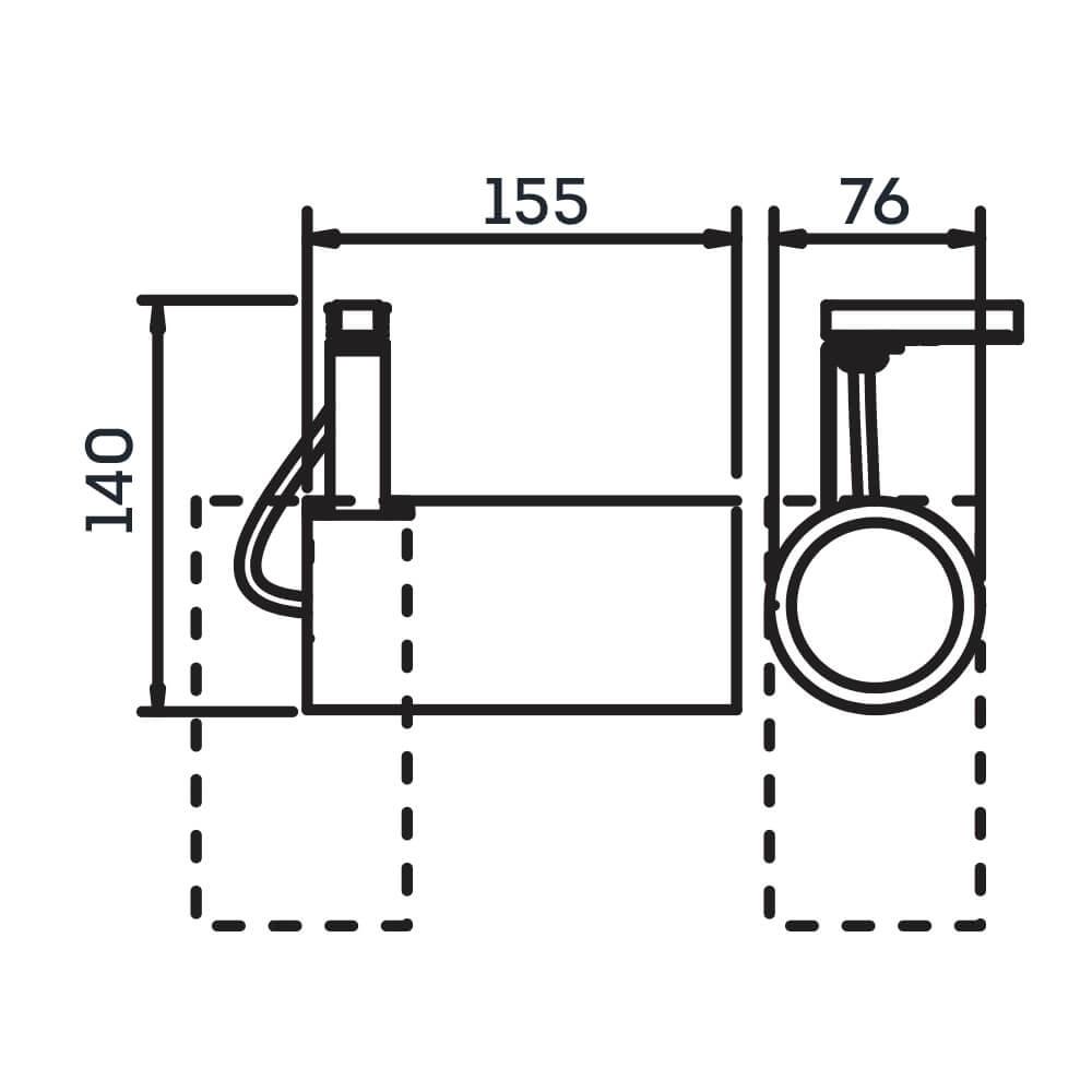 Spot Trilho Eletrificado Newline IN55935 Lisse II 1L E27 PAR20 155x76x140mm - Com Adaptador