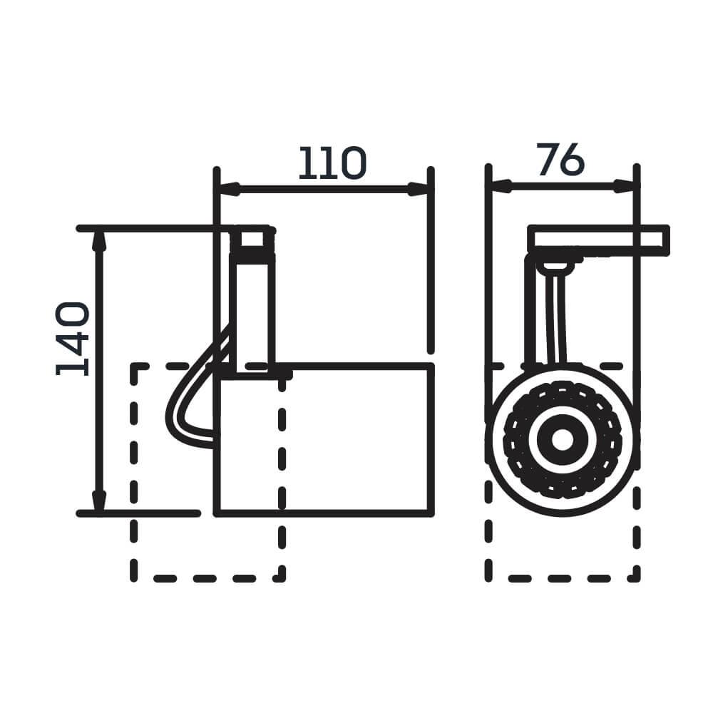 Spot Trilho Eletrificado Newline IN55945 Lisse II 1L GU10 AR70 110x76x140mm - Com Adaptador