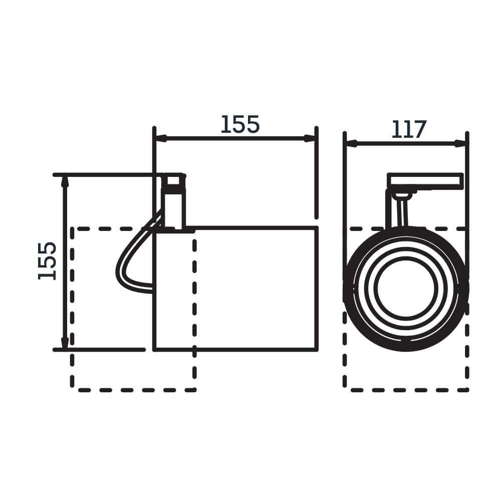 Spot Trilho Eletrificado Newline IN55965 Lisse II 1L E27 PAR30 155x117x155mm - Com Adaptador