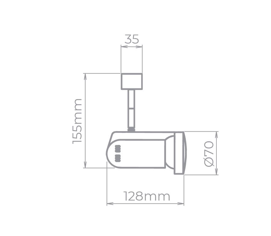 Spot Para Trilho Eletrificado Stella SD1070PTO PAR20 1L E27 PAR20 128x155mm - Preto