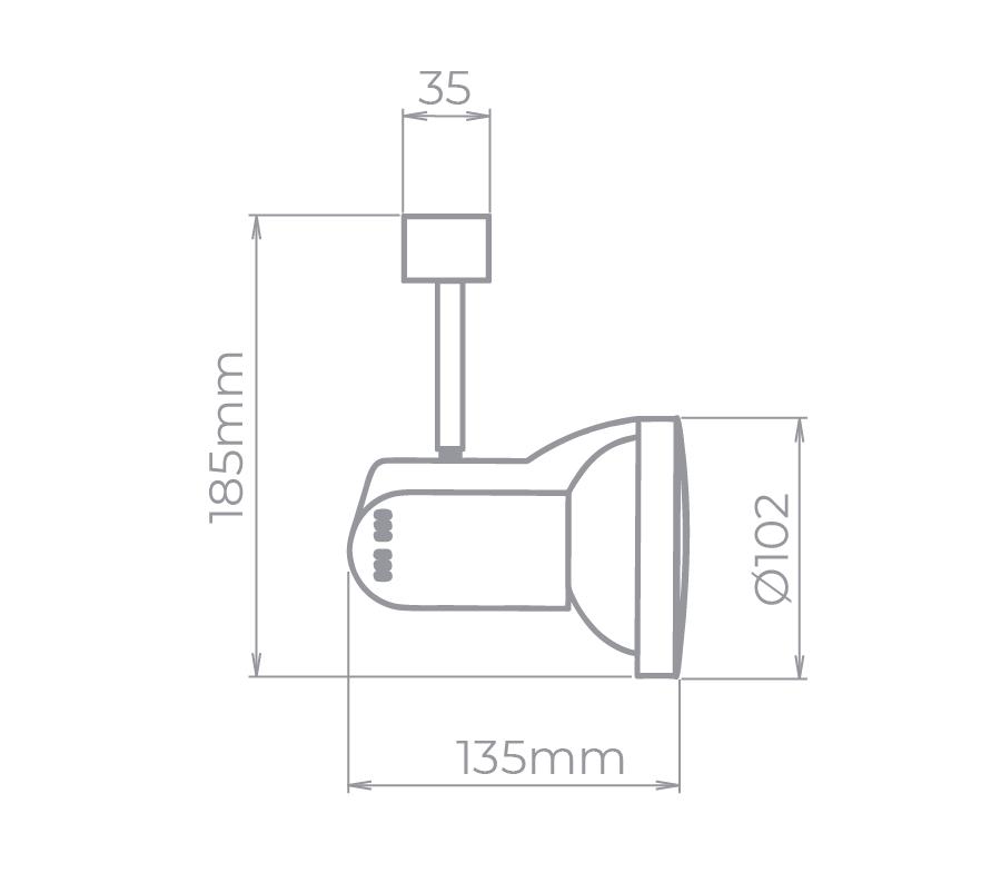 Spot Para Trilho Eletrificado Stella SD1080ST PAR30 1L E27 PAR30 135x185mm - Satin Silver